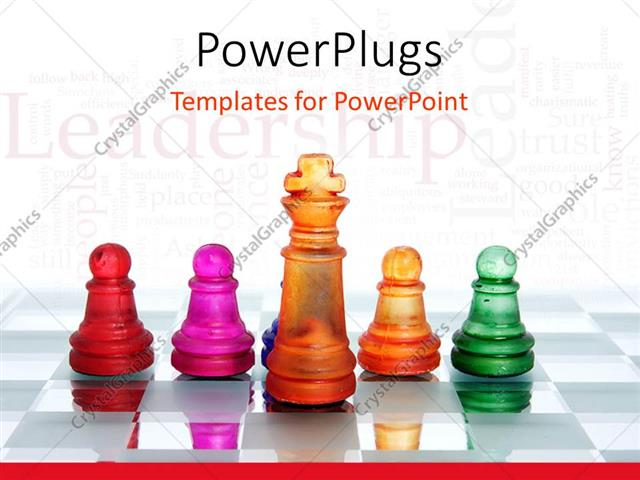 PowerPoint Template: Glowing chess board with colored chess pieces ...