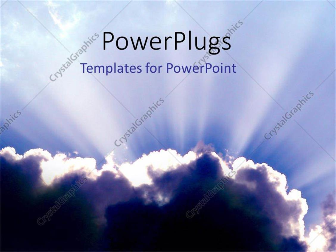 PowerPoint Template Displaying Glowing Clouds in Blue Skies Opportunity