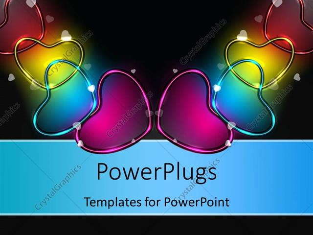 Powerpoint Template Glowing Colorful Heart Shaped Symbols Over