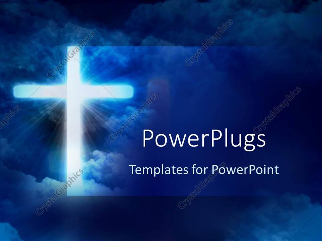 PowerPoint Template Displaying Glowing Cross in Front of Sky, Christianity, Christian, Religion, Faith, Church