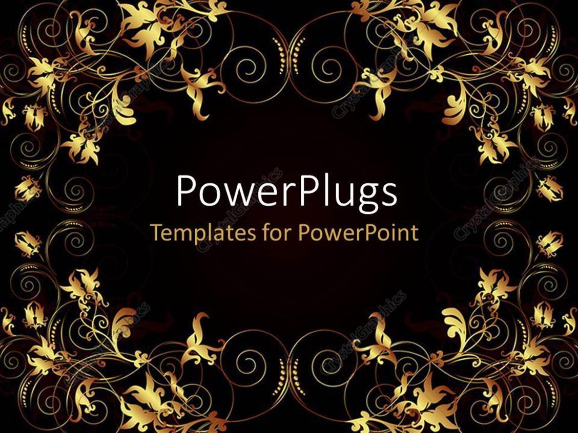 PowerPoint Template Displaying Glowing Flowery Artwork on Black Background