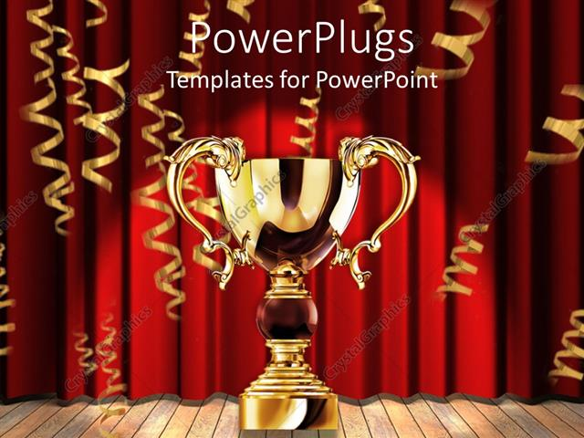 PowerPoint Template Displaying A Glowing Golden Trophy With Red Background Showing Victory