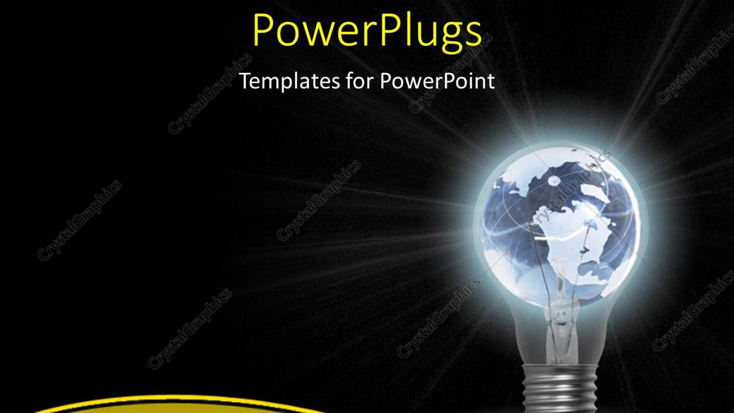 PowerPoint Template Displaying Glowing Light Bulb with Earth Globe as Filament on Black Background