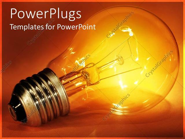 PowerPoint Template Displaying Glowing Light Bulb Representing Bright Idea or Innovation