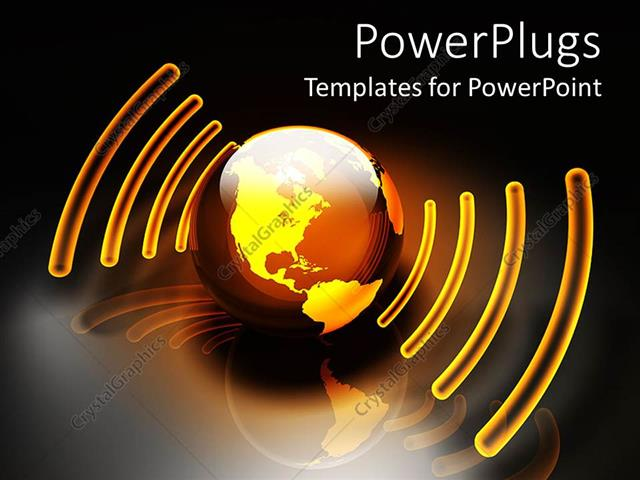 PowerPoint Template: glowing orange and gold globe with sound energy ...
