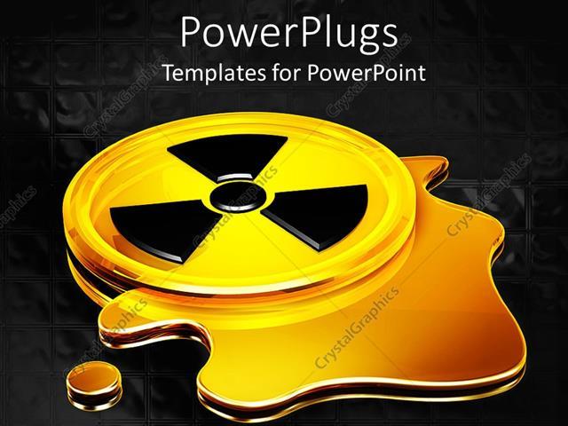 Powerpoint Template Glowing Yellow Black Radiation Warning Symbol