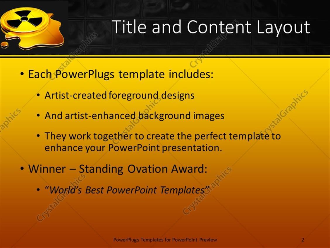 Powerpoint template glowing yellow black radiation warning symbol powerpoint products templates secure toneelgroepblik Gallery