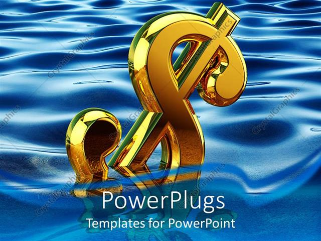 PowerPoint Template Displaying Gold 3D Dollar Sign Floating in Water, Economy, Finance
