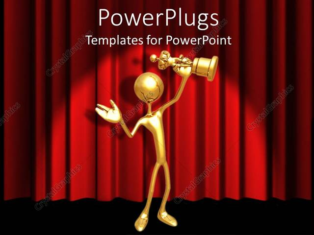 Powerpoint Template Gold 3d Figure Holding Gold Award Statuette On
