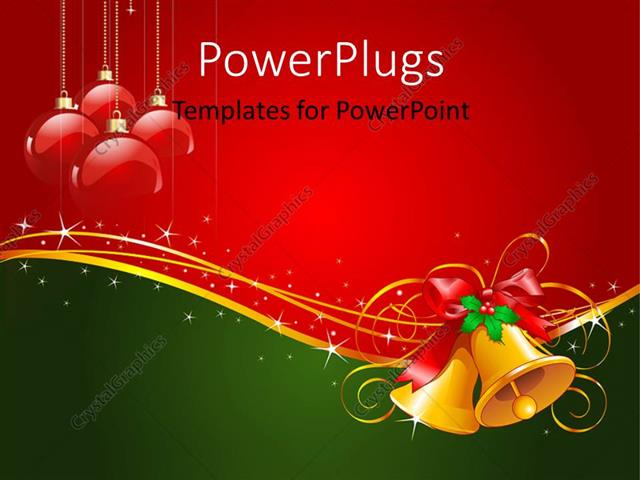 Powerpoint Template Gold Christmas Bells With Bow And Red Ornaments
