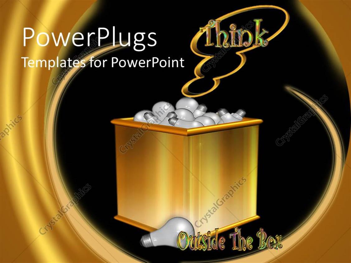 PowerPoint Template Displaying Gold Colored Box Filled Up with Light Bulbs with  THINK Text