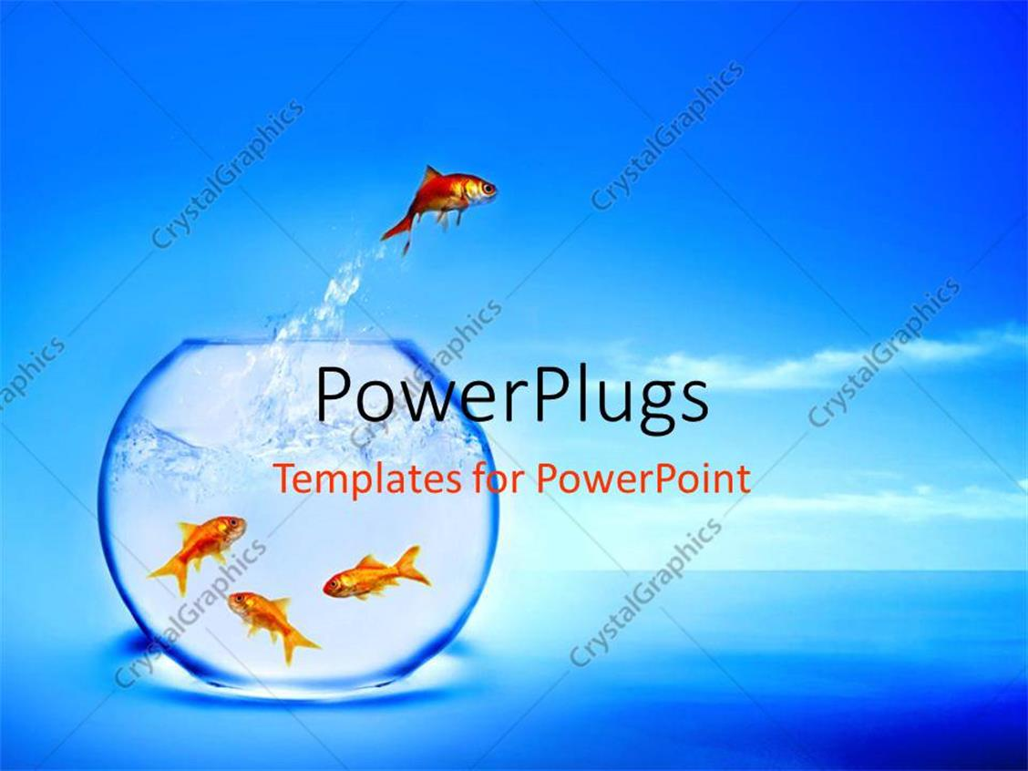 PowerPoint Template Displaying a Gold Fish Jumping Out of a Fish Bowl into the River