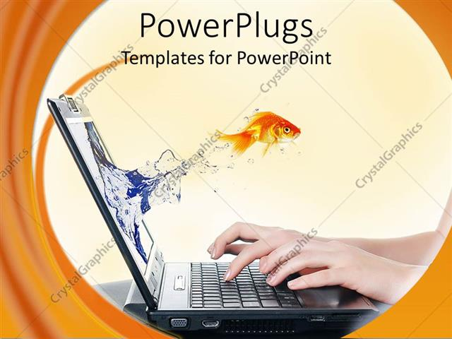 PowerPoint Template Displaying Gold Fish from a Laptop Screen with a Human Typing