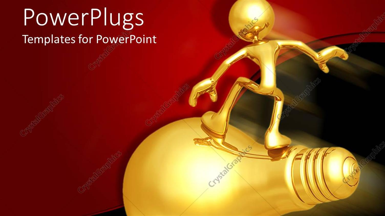 PowerPoint Template Displaying Gold Human Figure Standing on a Fast Moving Golden Bulb