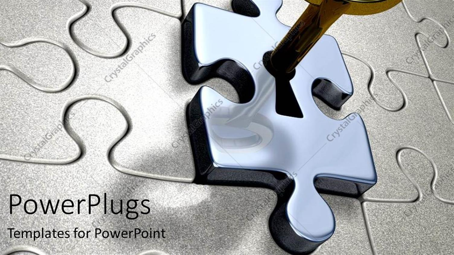 PowerPoint Template Displaying the Gold Key Unlocking the Silver Puzzle Lock Metaphor