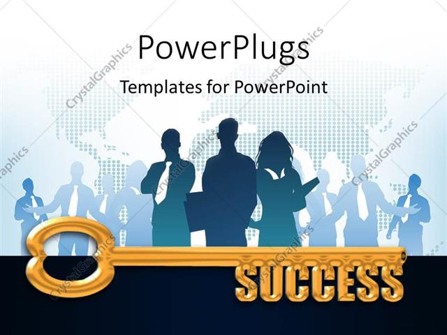 PowerPoint Template Displaying a Gold Key with the Words Success, Business People and Map in Background