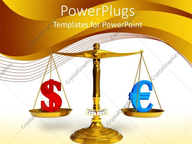 PowerPoint Template: gold plated balancing scales weighing