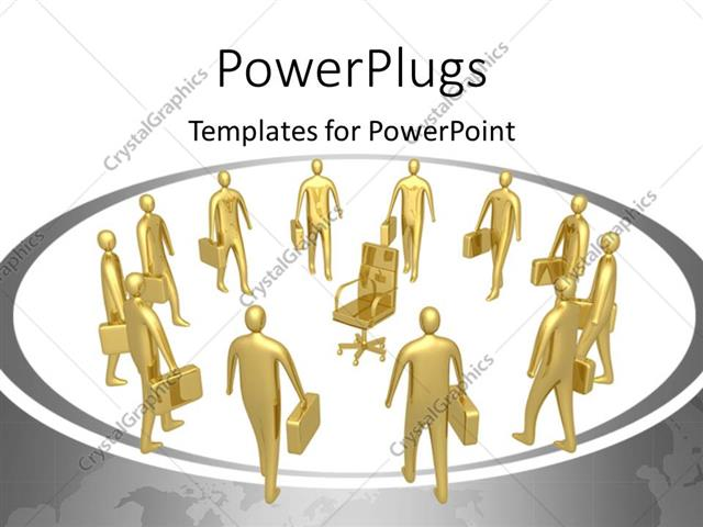 PowerPoint Template Displaying Gold Plated Business Men with Briefcases Vying for a Singular Position