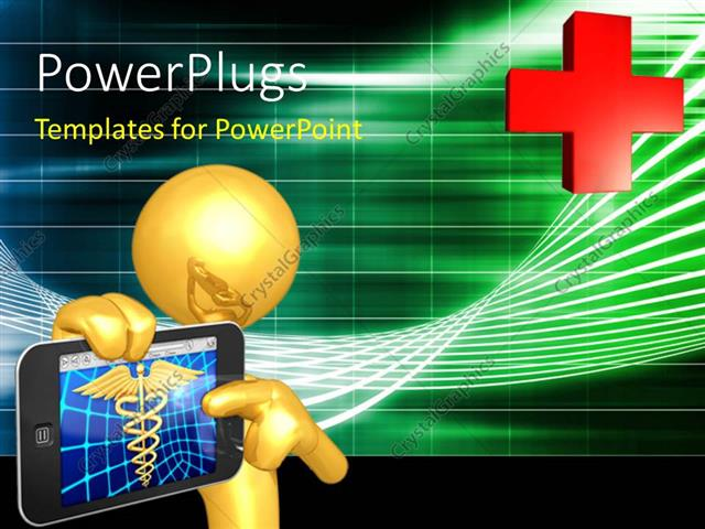 PowerPoint Template Displaying Gold Plated Man Holding Smartphone Showing Medical Symbol and Red 3D Cross