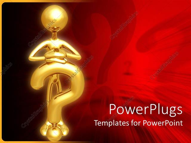 PowerPoint Template Displaying Gold Plated Man Stands and Rests Hands on Gold Question Mark Symbol