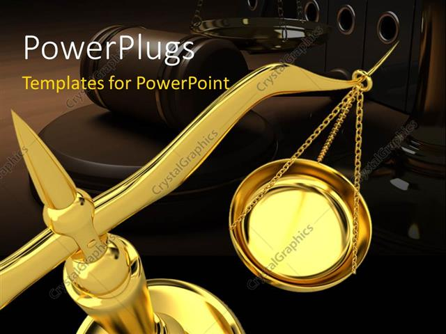 PowerPoint Template Displaying Gold Scales of Justice with Gavel in Background