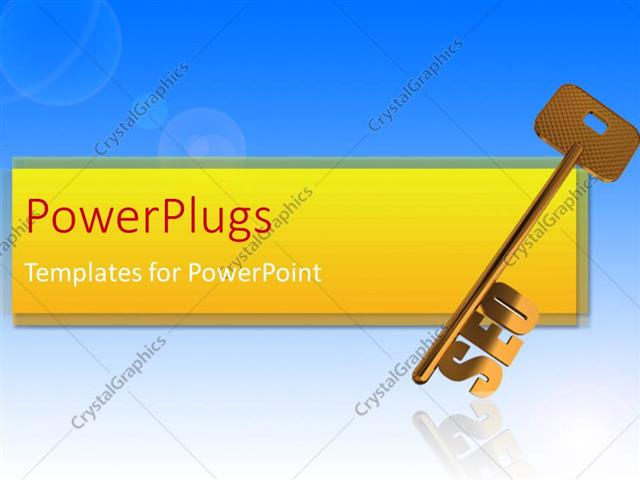 PowerPoint Template Displaying Gold Search Engine Optimization Skeleton Key on Blue Background