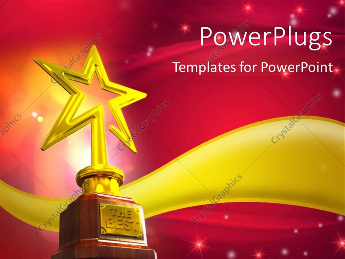 Powerpoint template gold star trophy placed over a golden wave powerpoint template displaying gold star trophy placed over a golden wave with glowing stars and flares alramifo Images
