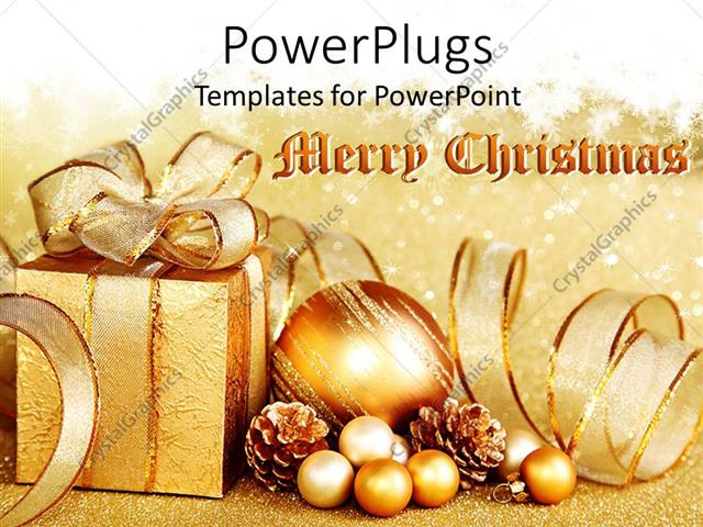 Powerpoint Template Golden Christmas Theme With Gift Box And
