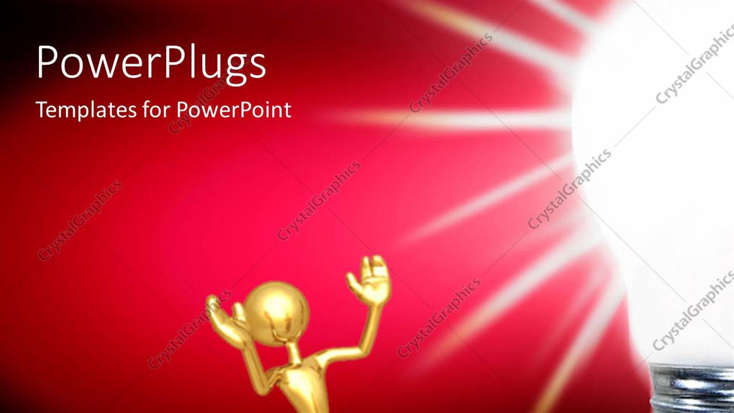 PowerPoint Template Displaying Golden Human Character Sitting Aside of a Light Bulb Over Dark Background