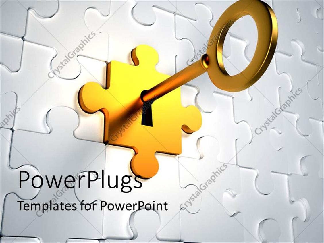 PowerPoint Template Displaying Golden Key Trying to Unlock the Golden Puzzle Piece from the Jigsaw Puzzle