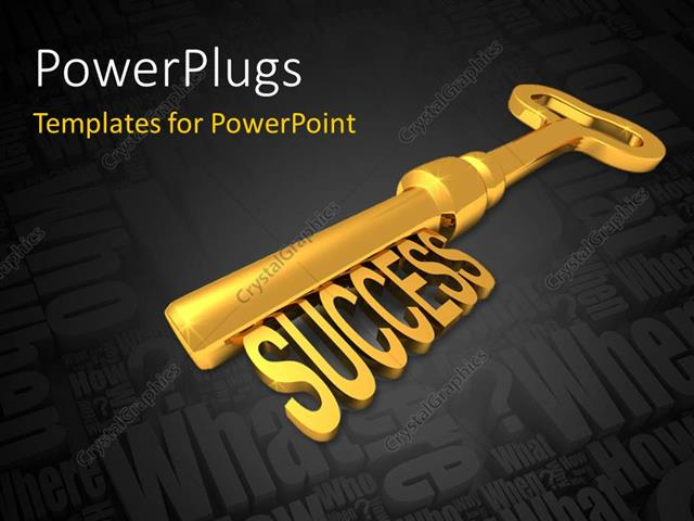 PowerPoint Template Displaying a Golden Key with the Word Success