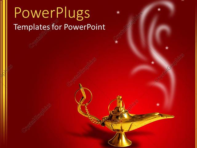 PowerPoint Template Displaying a Golden Magic Lamp with Smoke on Red Background