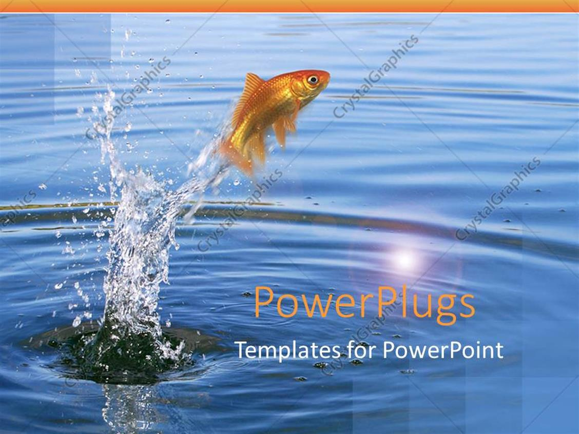 PowerPoint Template Displaying Goldfish Jumping Out of the Water with Splashing Water Around Fish