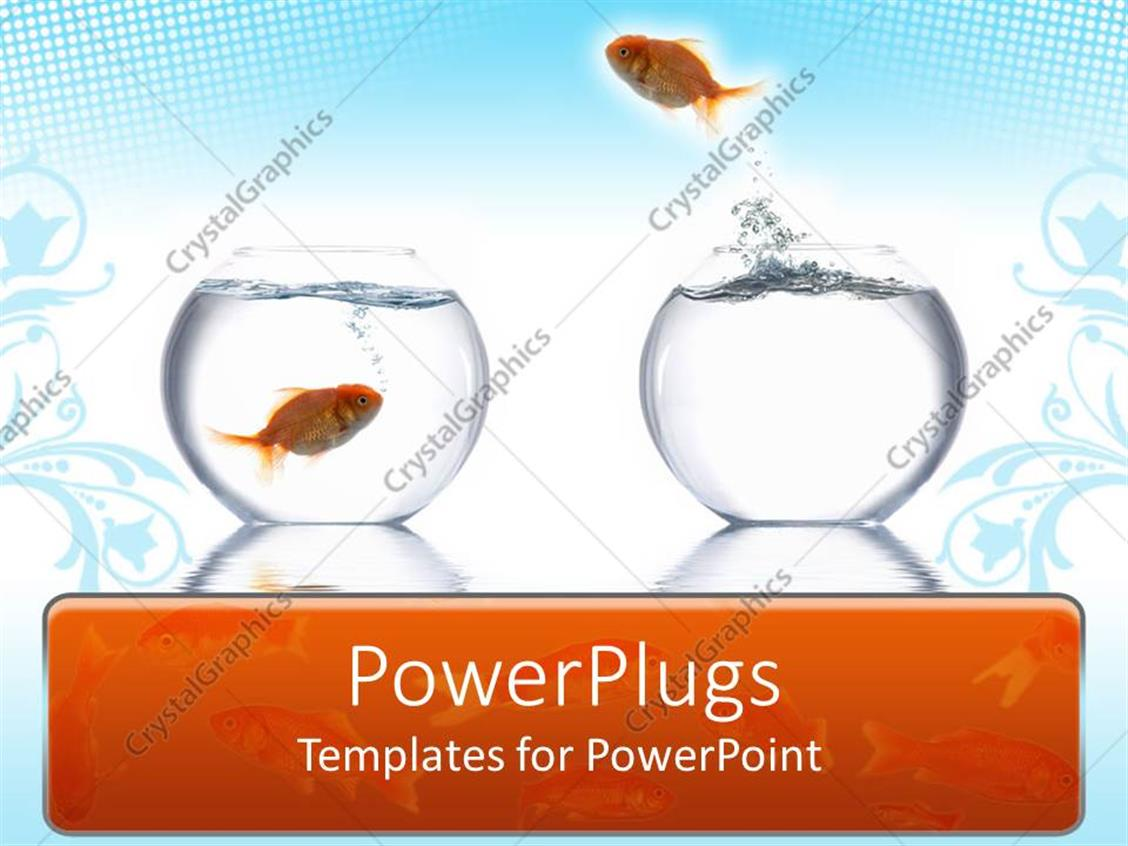 PowerPoint Template Displaying Goldfish Leaping from One Bowl to Another Fish's Bowl, Blue and White Background