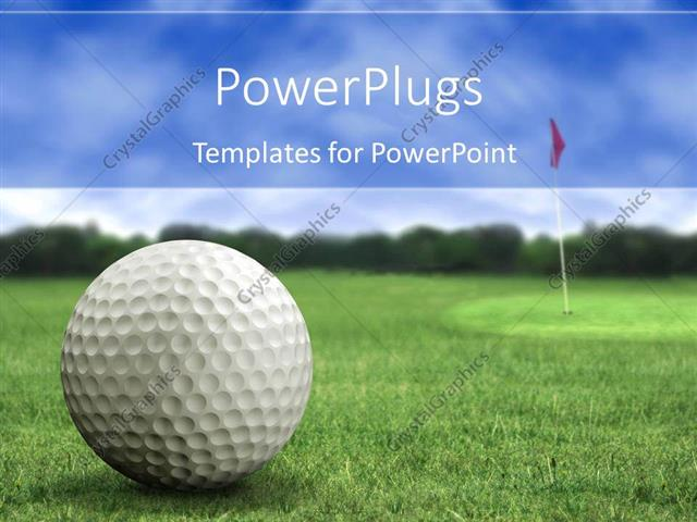 Powerpoint template golf ball on the golf playground on green powerpoint template displaying golf ball on the golf playground on green short grass with golf flag in the toneelgroepblik Image collections