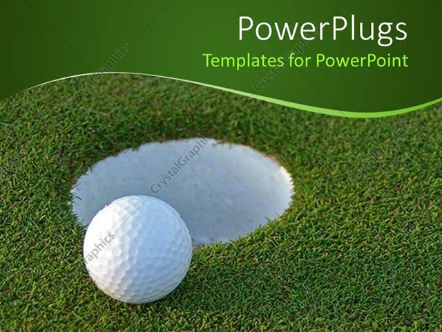 Powerpoint template golf ball on green just centimeters from the powerpoint template displaying golf ball on green just centimeters from the hole toneelgroepblik Image collections