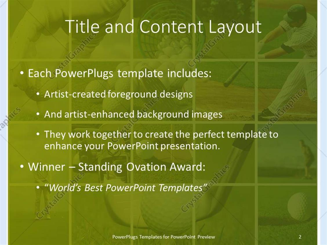 Powerpoint template golf and baseball collage with balls tees powerpoint products templates secure standing ovation award toneelgroepblik Choice Image