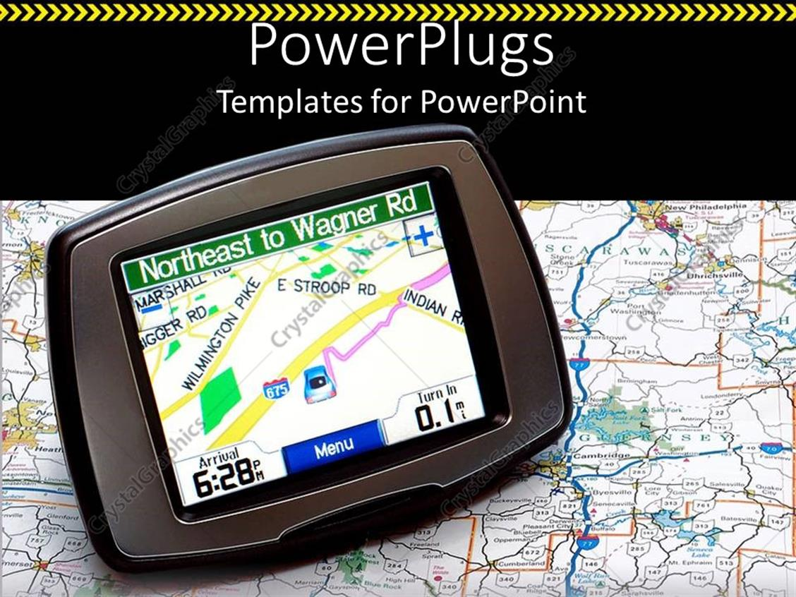 PowerPoint Template Displaying a Gps Device in the Picture with a Map in the Background