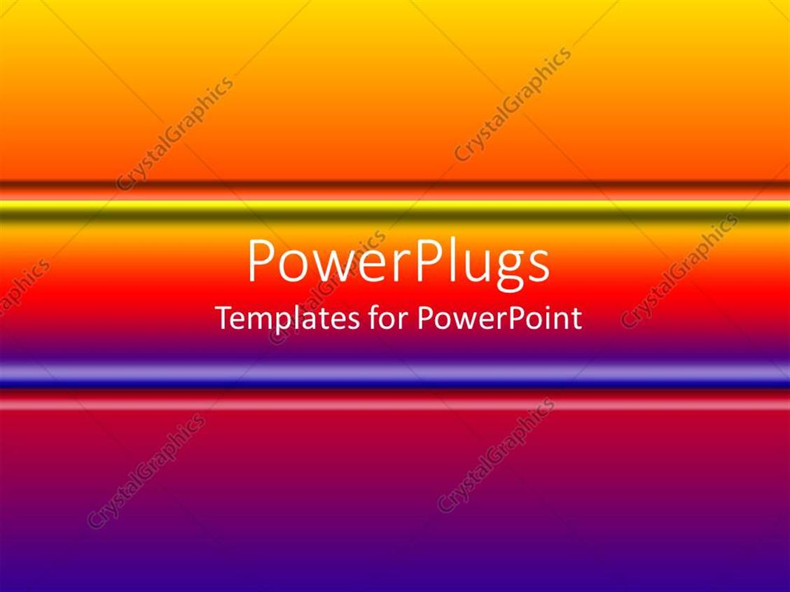 PowerPoint Template Displaying Gradient of Purple to Orange with Centered Horizontal Colorful Bar