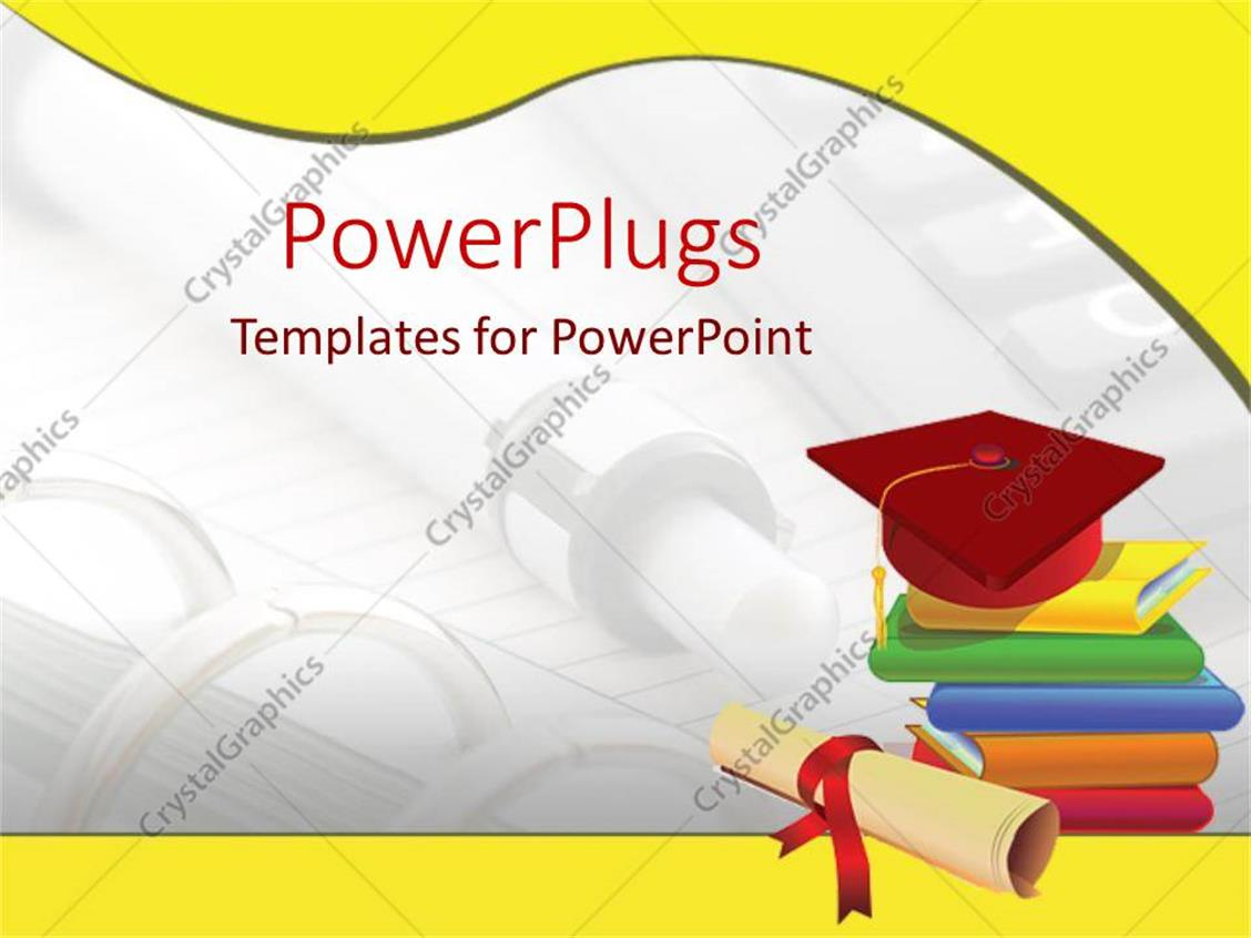 Powerpoint Template Graduation Cap On Stack Of Books Diploma Pen