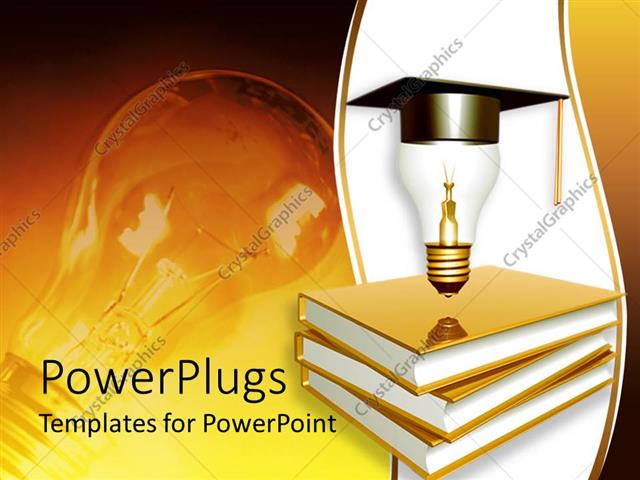 Powerpoint template graduation theme with golden books a light powerpoint template displaying graduation theme with golden books a light bulb on top of books with toneelgroepblik Choice Image