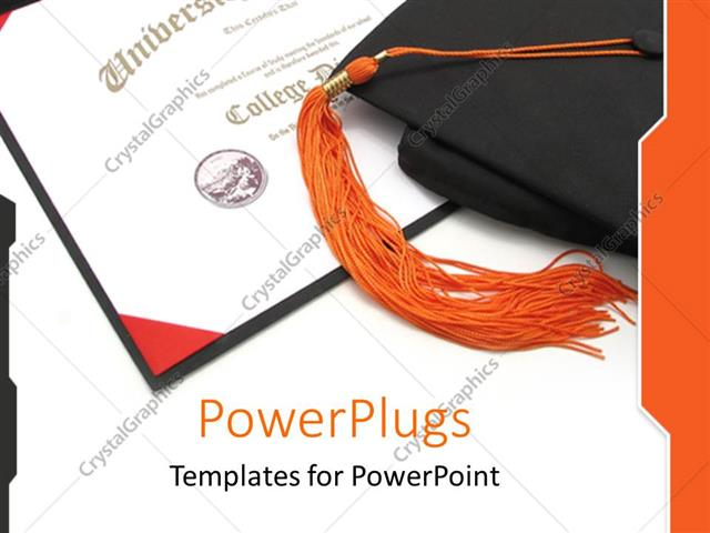 Powerpoint template graduation theme with graduation hat on top of powerpoint template displaying graduation theme with graduation hat on top of certificate diploma toneelgroepblik Choice Image