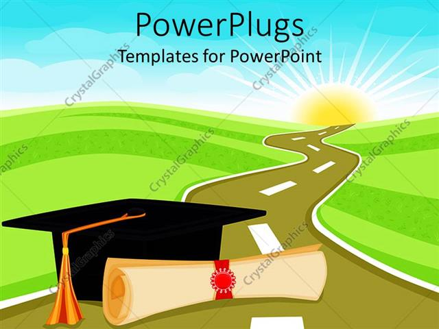 Powerpoint template graduation theme with rolled diploma papyrus powerpoint template displaying graduation theme with rolled diploma papyrus and graduating hat on a toneelgroepblik Image collections