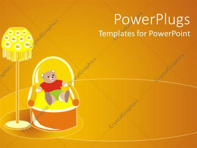 PowerPoint Template Displaying Graphic of Teddy Bear Dressed in Colorful Clothes Sitting in Armchair Next to Lamp on Yellow Background
