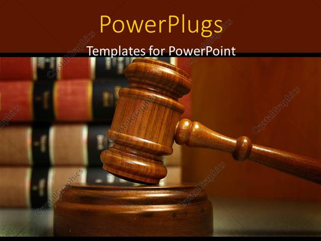 PowerPoint Template Displaying a Gravel and a Number of Law Related Books