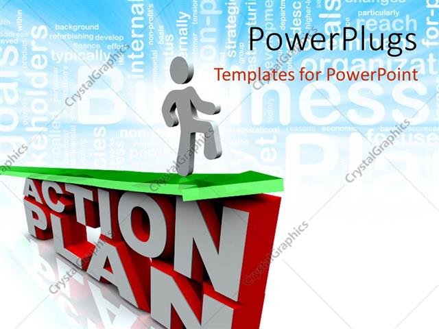 PowerPoint Template Displaying Gray Figure Walking on Green Arrow Above Words Action Plan in Front of Word Cloud