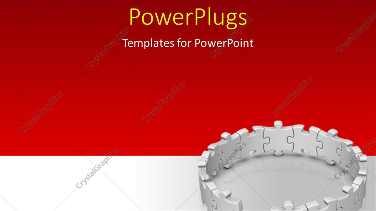PowerPoint Template Displaying Gray Jigsaw Puzzles with One Red Piece on Floor Over Red and Grey Background