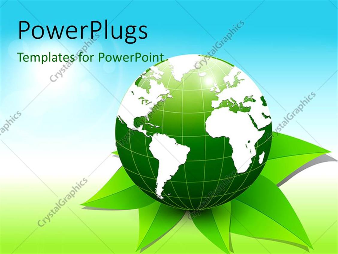 PowerPoint Template Displaying Green 3D Globe Placed on Green Leaves with Blue and Green Shades