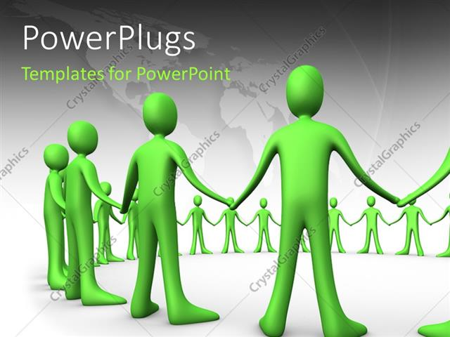 PowerPoint Template Displaying Green 3D Men Holding Hands Form Circle Over White Background