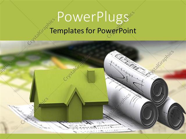 Powerpoint template green 3d rendering of house sitting of powerpoint template displaying green 3d rendering of house sitting of architectural designs with pen and toneelgroepblik Choice Image